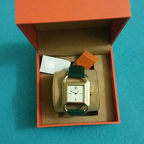 75cbbdf4a5c4 Tory Burch Phipps Green Leather Strap Watch